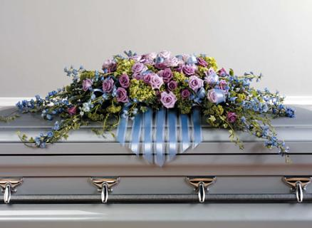 The lavender & Blue Casket spray