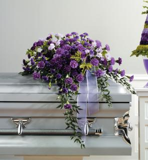 The Purple Carnation Casket Spray