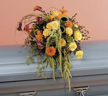 Orange and Yellow Cascading Casket Spray